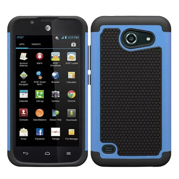 Football Texture Antiskid Rugged Hybrid Silicone and PC Cover for Huawei Tribute Y536 (Light Blue)