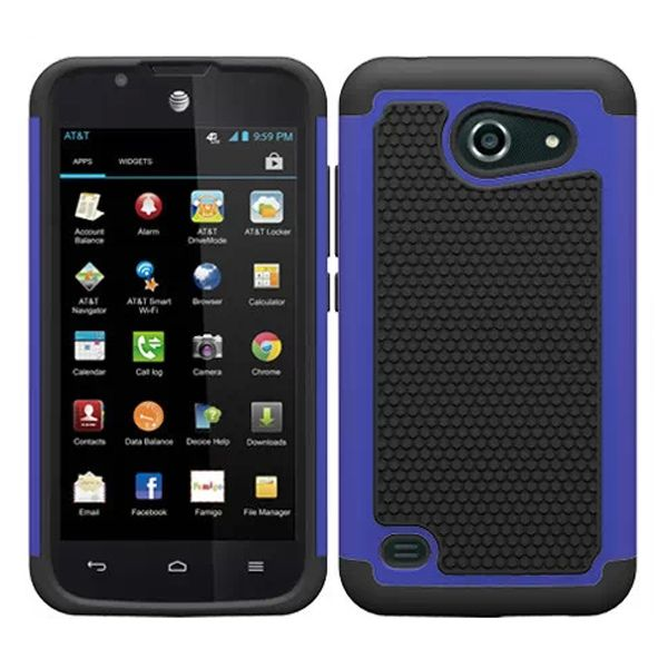 Football Texture Antiskid Rugged Hybrid Silicone and PC Cover for Huawei Tribute Y536 (Dark Blue)