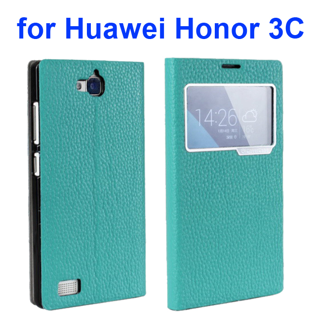 Litchi Texture Flip Genuine Leather Case for Huawei Honor 3C with Caller Display Window (Blue)