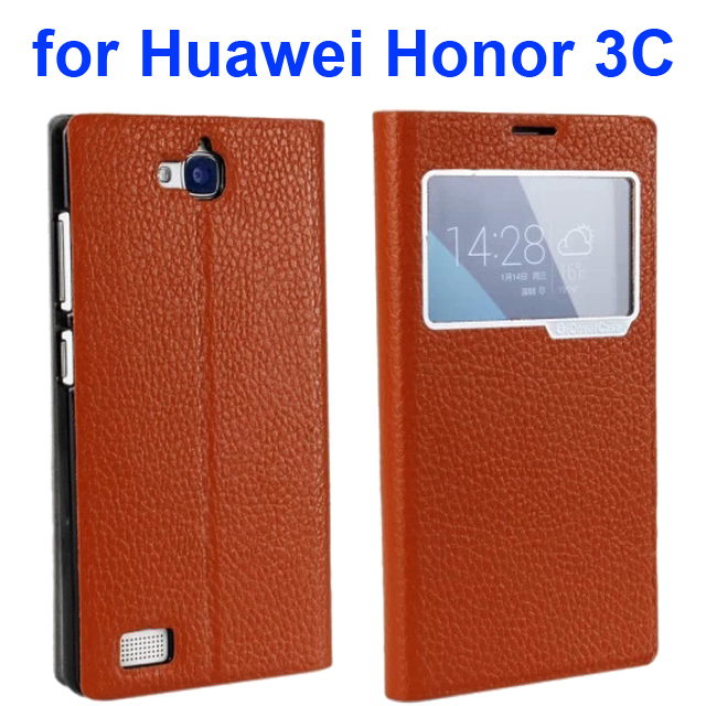 Litchi Texture Flip Genuine Leather Case for Huawei Honor 3C with Caller Display Window (Brown)