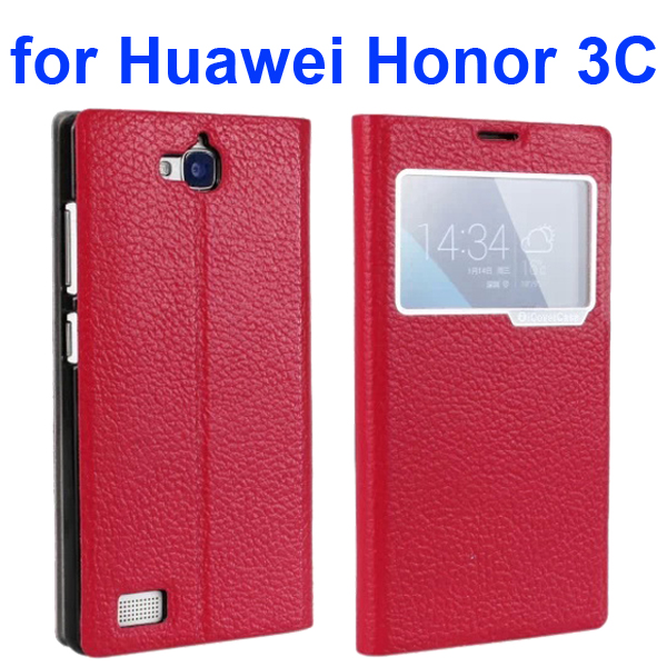 Litchi Texture Flip Genuine Leather Case for Huawei Honor 3C with Caller Display Window (Red)