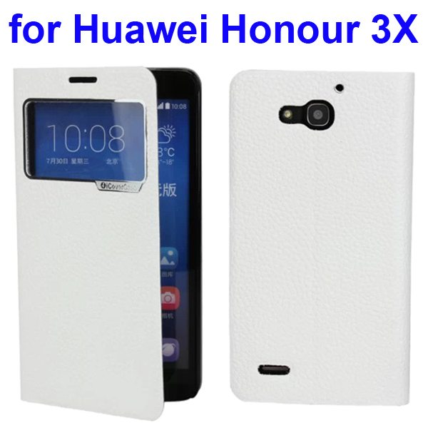 Litchi Pattern Leather Case for Huawei Honour 3X with Caller ID Display Window (White)