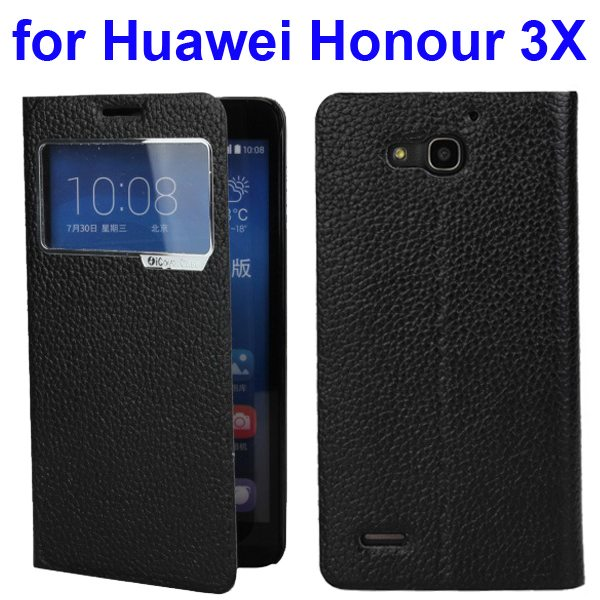 Litchi Pattern Leather Case for Huawei Honour 3X with Caller ID Display Window (Black)