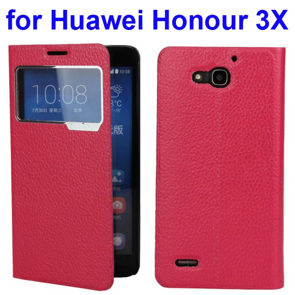 Litchi Pattern Leather Case for Huawei Honour 3X with Caller ID Display Window (Rose)