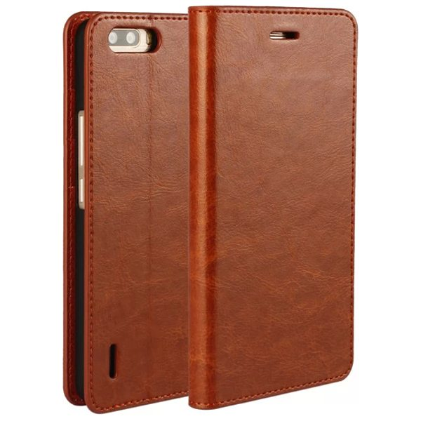 Crazy Horse Texture Flip Genuine Leather Cover for Huawei Honor 6 Plus (Light Brown)