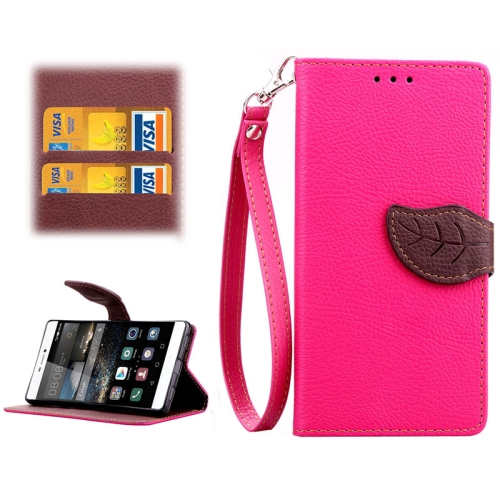 Leaf Magnetic Snap Litchi Texture Horizontal Flip Leather Case for Huawei P8 (Rose)