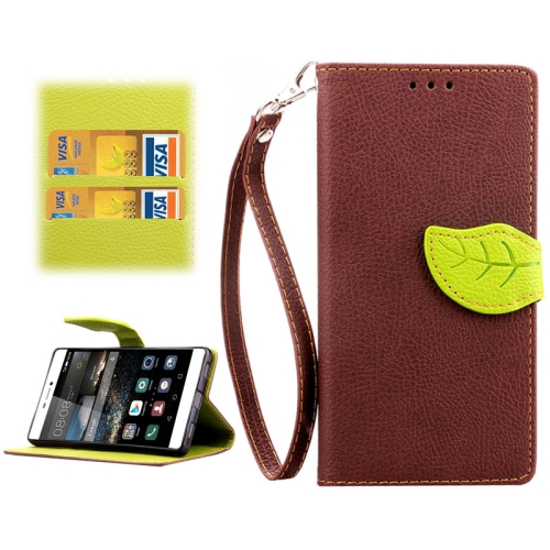 Leaf Magnetic Snap Litchi Texture Horizontal Flip Leather Case for Huawei P8 (Brown)