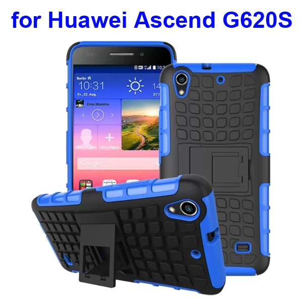 2 in 1 Silicone and Hard Shockproof Hybrid Cover for Huawei Ascend G620S with Kickstand (Blue)
