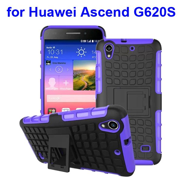 2 in 1 Silicone and Hard Shockproof Hybrid Cover for Huawei Ascend G620S with Kickstand (Purple)