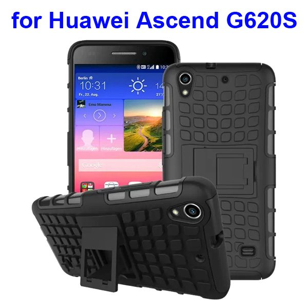 2 in 1 Silicone and Hard Shockproof Hybrid Cover for Huawei Ascend G620S with Kickstand (Grey)