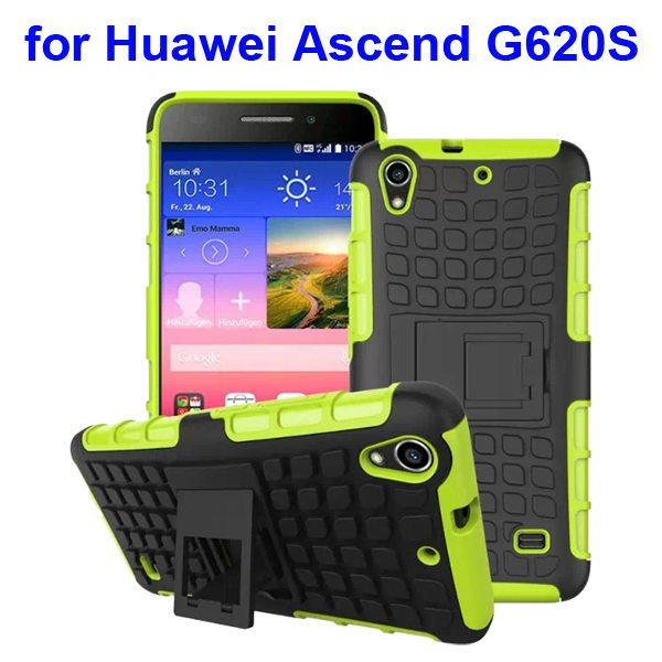 2 in 1 Silicone and Hard Shockproof Hybrid Cover for Huawei Ascend G620S with Kickstand (Green)