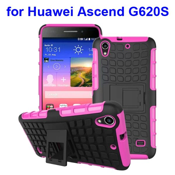 2 in 1 Silicone and Hard Shockproof Hybrid Cover for Huawei Ascend G620S with Kickstand (Rose)