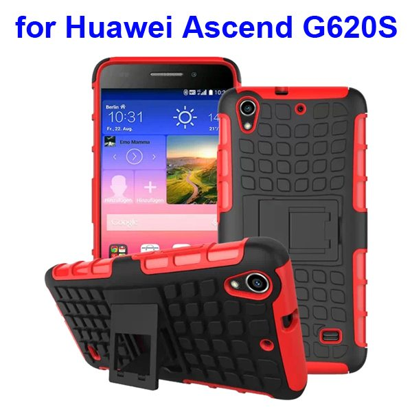 2 in 1 Silicone and Hard Shockproof Hybrid Cover for Huawei Ascend G620S with Kickstand (Red)