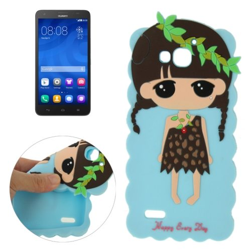 Cute Cartoon Lovely Girl Pattern Soft Silicone Case for Huawei Honor 3X G750 (Blue)