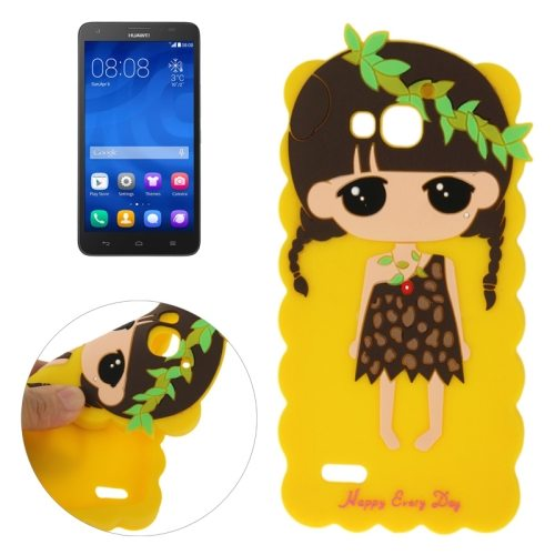 Cute Cartoon Lovely Girl Pattern Soft Silicone Case for Huawei Honor 3X G750 (Yellow)