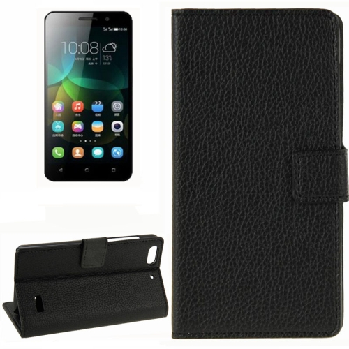 Litchi Texture Horizontal Flip Leather Phone Case for Huawei Honor 4C with Card Slots (Black)