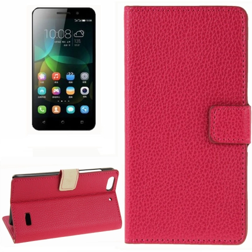 Litchi Texture Horizontal Flip Leather Phone Case for Huawei Honor 4C with Card Slots (Red)