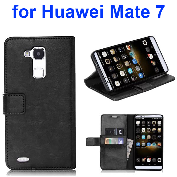 Smooth Texture TPU and PU Leather Flip Wallet Case for Huawei Mate 7 with Card Slots (Black)