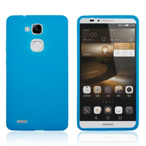 Full Body TPU Protective Case for Huawei Mate 7 with Touchable Wallet Flip Screen (Blue)