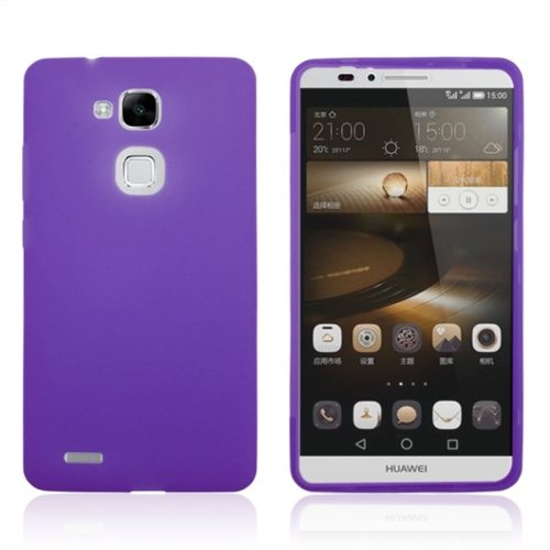 Full Body TPU Protective Case for Huawei Mate 7 with Touchable Wallet Flip Screen (Purple)