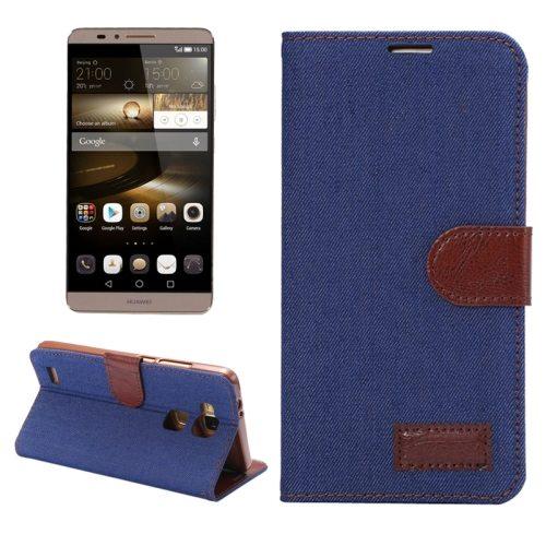 Denim texture Magnetic Flip Wallet Leather Case for Huawei Ascend Mate 7/ MT7 (Dark Blue)