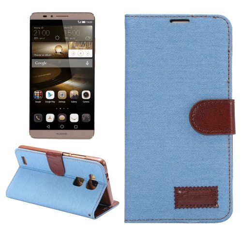 Denim texture Magnetic Flip Wallet Leather Case for Huawei Ascend Mate 7/ MT7 (Blue)