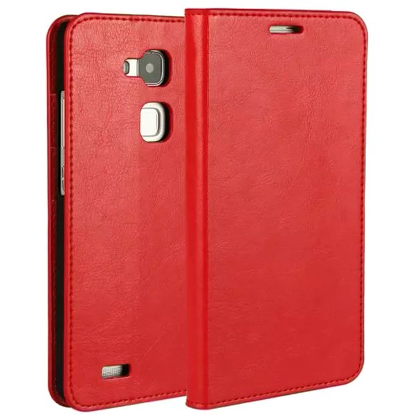 Crazy Horse Texture Wallet Style Flip Stand Genuine Leather Case for Huawei Mate 7 (Red)