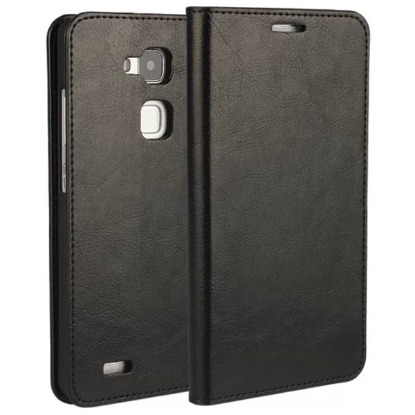 Crazy Horse Texture Wallet Style Flip Stand Genuine Leather Case for Huawei Mate 7 (Black)
