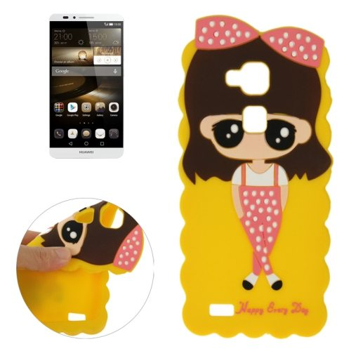 Cartoon Lovely Girl Pattern Soft Protective Silicone Case for Huawei Ascend Mate 7 (Yellow)
