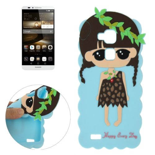 Cartoon Lovely Girl Pattern Soft Protective Silicone Case for Huawei Ascend Mate 7 (Blue)