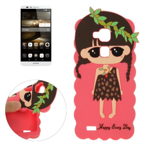 Cartoon Lovely Girl Pattern Soft Protective Silicone Case for Huawei Ascend Mate 7 (Red)
