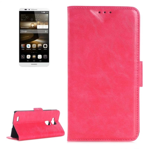 Oil Skin Texture Wallet Flip Leather Case Cover for Huawei Ascend Mate 7 with Card Slots and Holder (Pink)