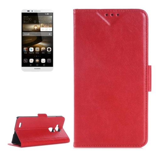 Oil Skin Texture Wallet Flip Leather Case Cover for Huawei Ascend Mate 7 with Card Slots and Holder (Red)