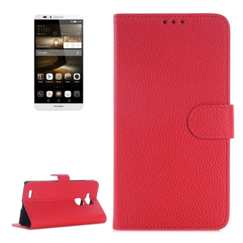 Litchi Texture Wallet Flip Leather Case for Huawei Ascend Mate 7 with Card Slots & Holder (Red)