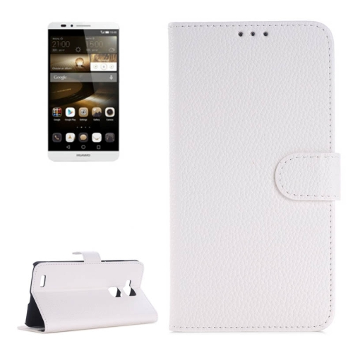 Litchi Texture Wallet Flip Leather Case for Huawei Ascend Mate 7 with Card Slots & Holder (White)