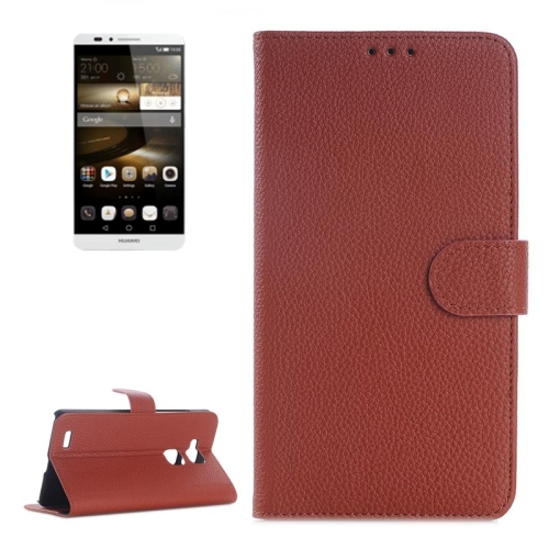 Litchi Texture Wallet Flip Leather Case for Huawei Ascend Mate 7 with Card Slots & Holder (Brown)