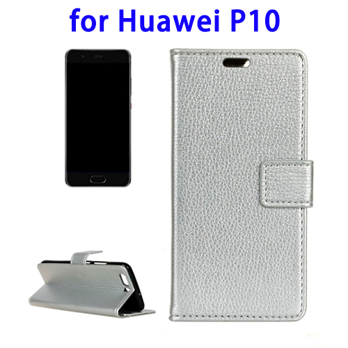 Litchi Texture Horizontal Flip Leather Case for Huawei P10 with Holder (Silver)