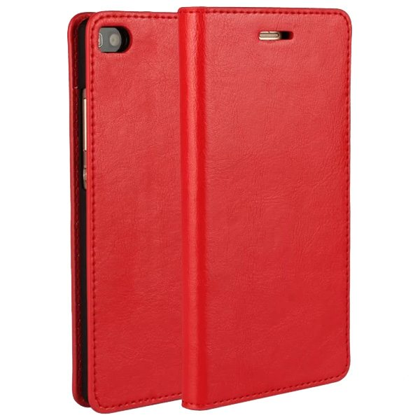 Crazy Horse Texture Wallet Flip Genuine Leather Case for Huawei Ascend P8 with Holder (Red)