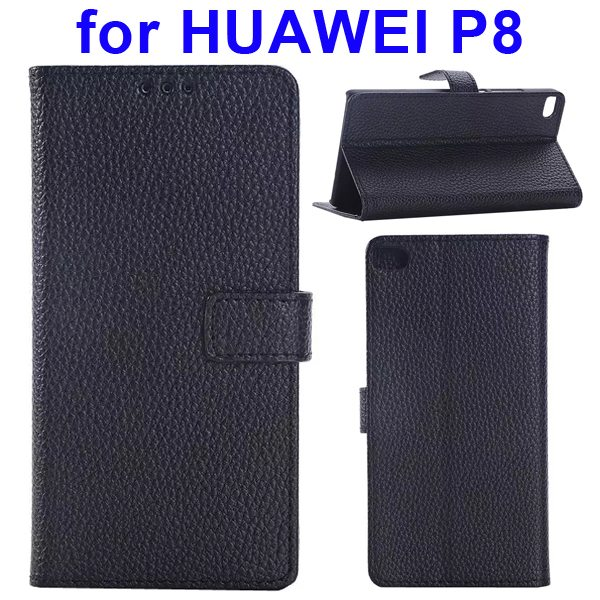 Litchi Texture Flip Leather Case Cover for Huawei P8 with Holder (Black)