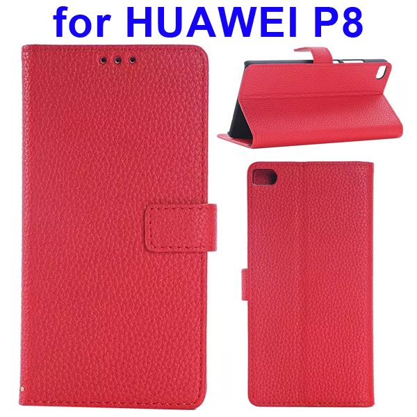 Litchi Texture Flip Leather Case Cover for Huawei P8 with Holder (Red)