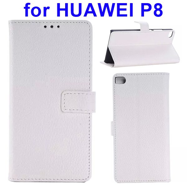 Litchi Texture Flip Leather Case Cover for Huawei P8 with Holder (White)