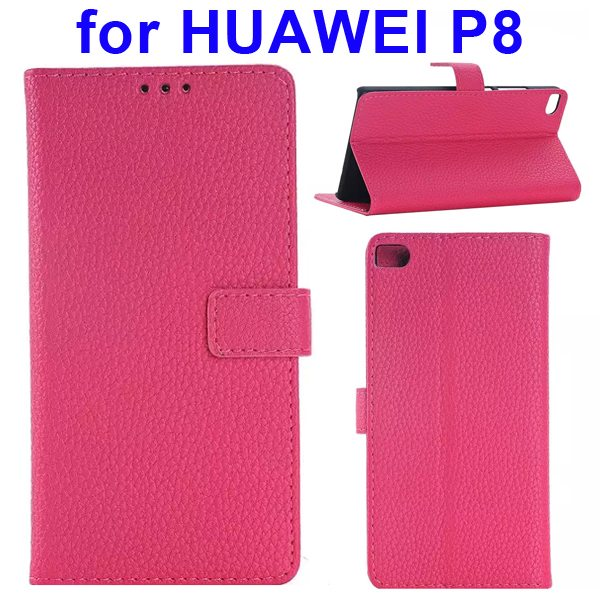 Litchi Texture Flip Leather Case Cover for Huawei P8 with Holder (Rose)