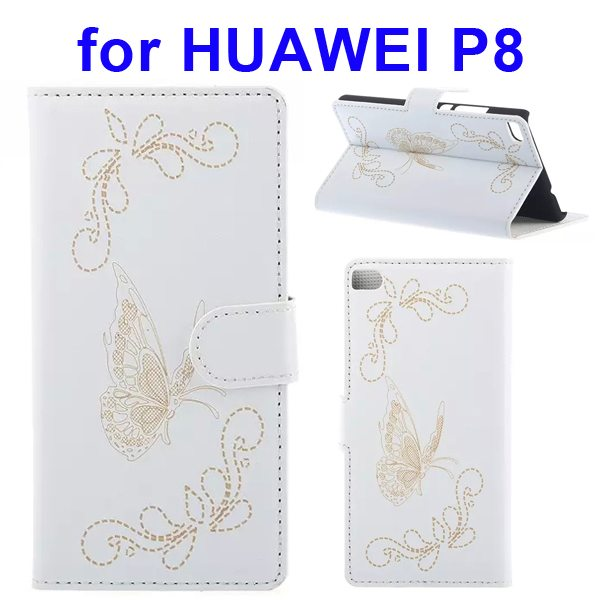Butterfly Pattern Laser Carving Flip Stand Leather Case Cover for Huawei P8 (White)