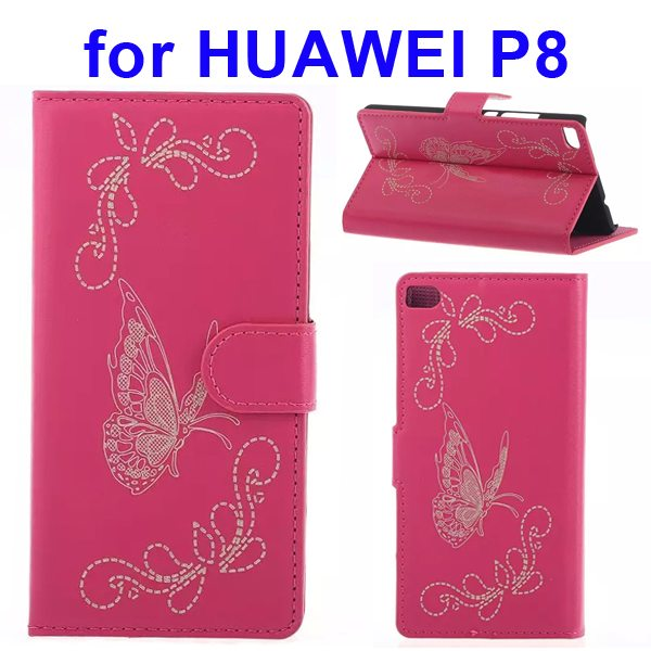 Butterfly Pattern Laser Carving Flip Stand Leather Case Cover for Huawei P8 (Rose)