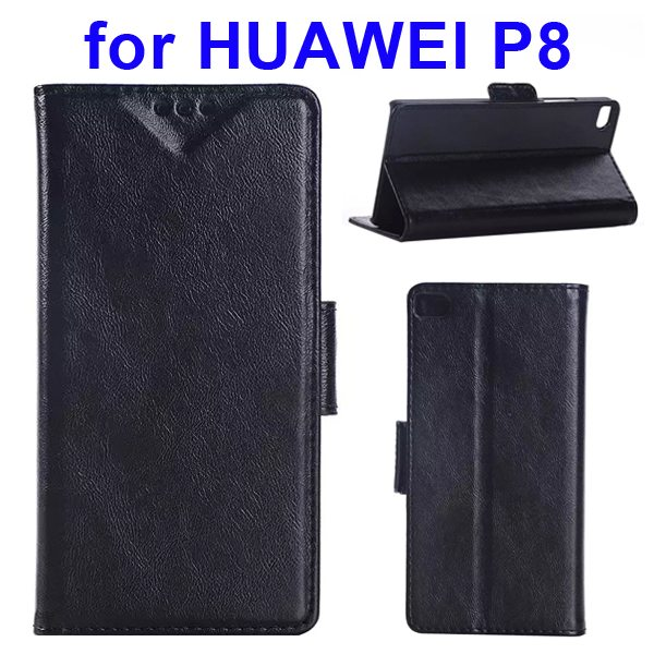 Crazy Horse Texture Wallet Style Flip Leather Case for Huawei P8 with Magnetic Closure(Black)