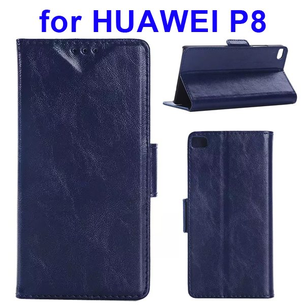 Crazy Horse Texture Wallet Style Flip Leather Case for Huawei P8 with Magnetic Closure(Dark Blue)