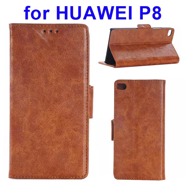 Crazy Horse Texture Wallet Style Flip Leather Case for Huawei P8 with Magnetic Closure(Brown)