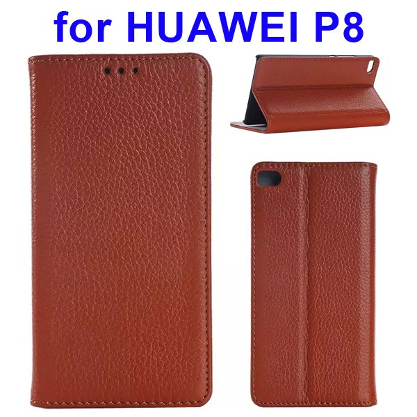 Litchi Texture Flip Genuine Leather Case for Huawei P8 with Holder & Card Slots (Brown)