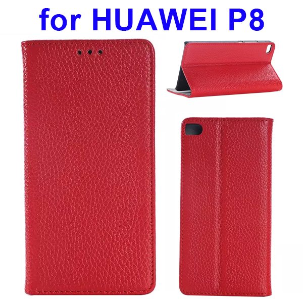Litchi Texture Flip Genuine Leather Case for Huawei P8 with Holder & Card Slots (Red)