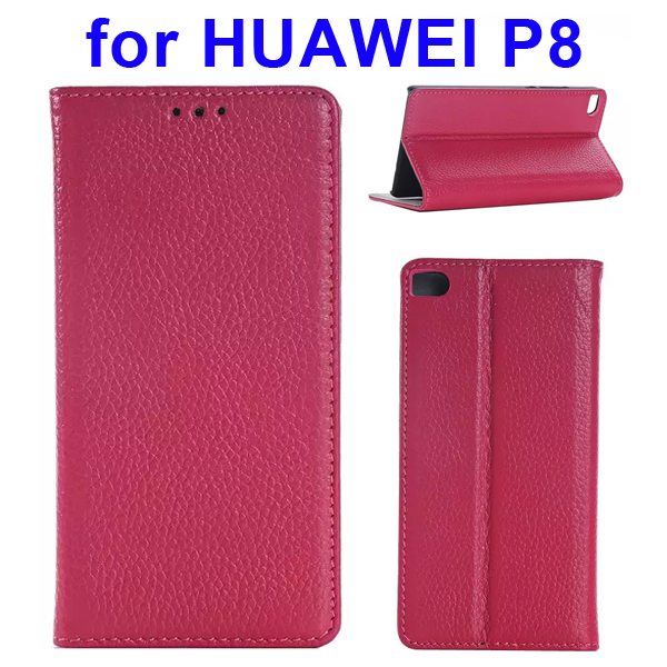 Litchi Texture Flip Genuine Leather Case for Huawei P8 with Holder & Card Slots (Rose)